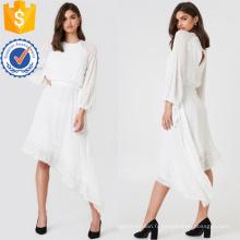 Dentelle blanche à manches longues asymétrique ourlet Maxi robe d'été fabrication en gros de mode femmes vêtements (TA0290D)