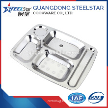 Stainless Steel Canteen Serving Tray/Dinner Plates/Fast Food tray with 5 compartment