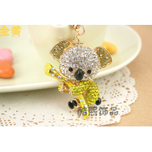 Cute bag hanger metal koala Keychain luxury crystal rhinestones animal shape fashion keychains wholesale