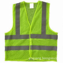 Vest, 100% polyester lime mesh with high visibility reflective tape in width of 5cm, Velcro closure