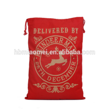 Fun Xmas Red Color Drawstring Stocking Candy Bags Christmas Gift Bag