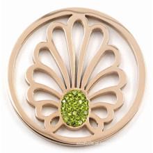 Moeda da licença da forma com cristal verde