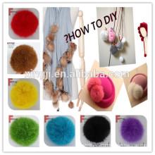 Высокое качество окрашенных и натуральных мех кролика мяч для одежды