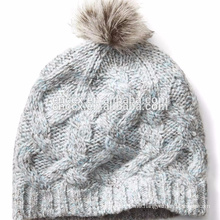 PK17ST035 Alpaca Blend Fur Pompom Cable Knit Beanie Hat