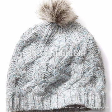 PK17ST035 Alpaca Blend Fur Pompom Cable Knit Beanie Hat