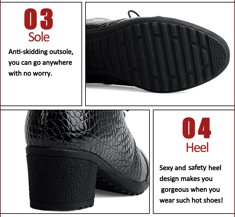 5cm genuine leather ankle winter warm boots