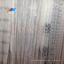 Tela de cortina de gasa ancha bordada 100% poliéster