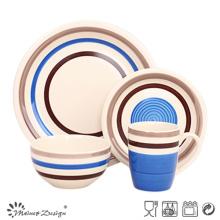 16PCS haute qualité peint à la main bleu en céramique ensemble de dîner