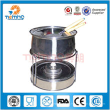 pot de fondue de sterno d'acier inoxydable, brûleur de fondue avec des fourchettes