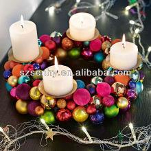 Подсвечник пластиковый Рождественский бал венок свеча светодиодная