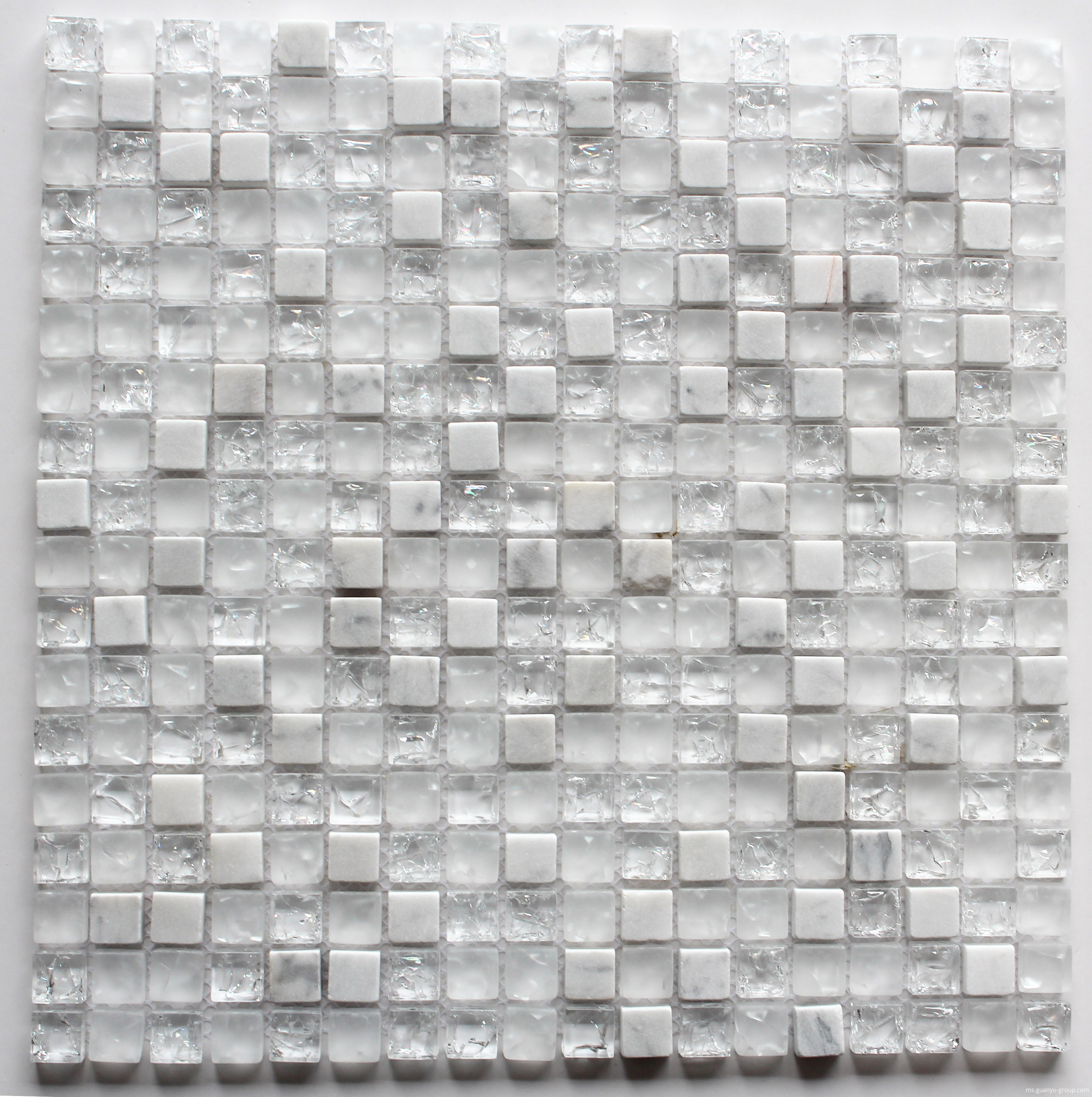 Pure White Cracked Glass Mixed Stone Mosaic