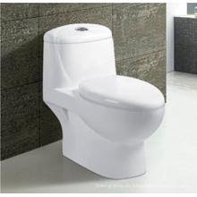 Baño sanitarios blanco cerámica Siphonic inodoro de una pieza con asiento
