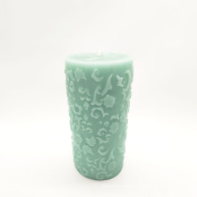 colored spraying embossed pillar candles carved pattern candle