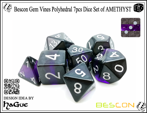 Bescon Gem Vines Polyhedral 7pcs Dice Set of AMETHYST-3