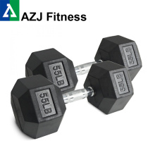 55LB Black Rubber Hex Dumbbell