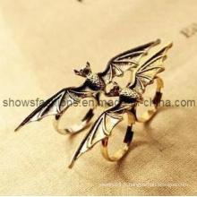 Anneau à doigts / Alliage à deux doigts Anneau plaqué antique / bijoux à la mode (XRG12062)
