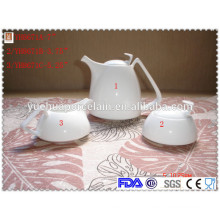 Royal porcelain tea set with tea pot, sugar pot and milk jar, ceramic tea and coffee set