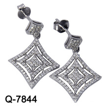 Silver Jewelry Dangle Earrings Rhodium Plating (Q-7844)