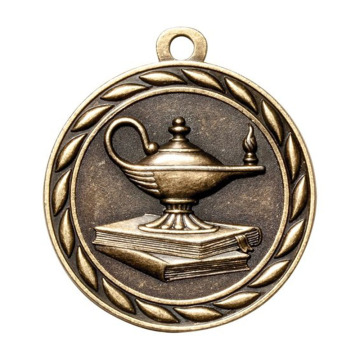 Academic Lamp of Knowledge Medallas de metal