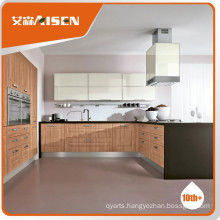 Long lifetime Wooden color PVC membrane kitchen cabinet low price and high quality standard furniture for kitchen