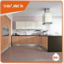 Longa vida Cor de madeira armário de cozinha de membrana de PVC preço baixo e mobiliário padrão de alta qualidade para cozinha