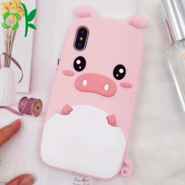 INS Hot Pink Pig zachte siliconen telefoonhoes