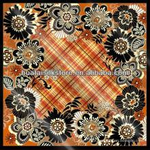 100% seda xadrez floral Turky cachecol 105x105cm