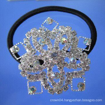 fashion metal silver plated crystal elastic flower hair band