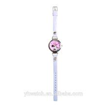 Faixa de couro macio de mickey mouse relógio de bebê rosa