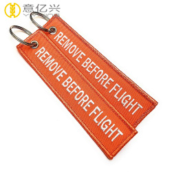 custom name remove before flight ribbon keychains