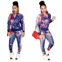 Mulheres de moda de algodão Premium noite usam calças de terno de noite de duas peças mulheres