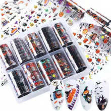 2021 Custom Halloween Starry Sky Patterns Nail Foil Transfer Paper Nail Stickers