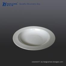 Plato de la sopa de la porcelana blanca barata del diseño del gran diseño llano llano