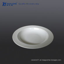 Placa de sopa de porcelana branca barata