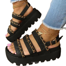 Flat Women's Platform Sandals With Round Toe Metal Chain In-line Wedge wedge sandals female Outdoor Casual Sandals