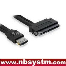 SATA 7pin + 15 pinos para ligar eSATA 2.5 HDD hot plug cable preto