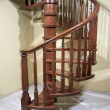 Prix intérieur d'escalier en bois plein de chêne de spirale