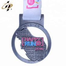 Artículo a granel barato morir golpeó la medalla deportiva de maratón de plata antigua