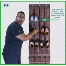 Robusto organizador de zapatos colgando sobre la puerta con 24 grandes bolsillos de malla
