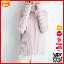 Nuevos suéteres de la cachemira del rosa del cuello alto del cachemir de las mujeres de la manera en venta