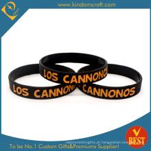 Venda quente personalizado impresso pulseira de silicone preto (LN-015)