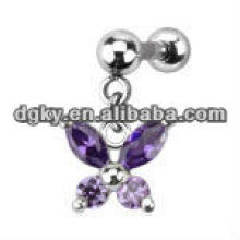 Multiple Crystal Butterfly Dangle Cartilage Tragus Upper Ear Bar piercing jewelry