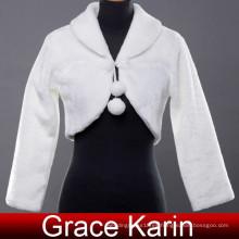 Grace Karin Womens Faux Fur invierno blanco boda nupcial chaqueta con mangas largas CL2617