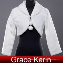 Grace Karin Womens Faux Fur Winter White Wedding Bridal Jacket With Long Sleeves CL2617