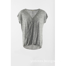 Novelty grey short sleeve cap sleeve pullover