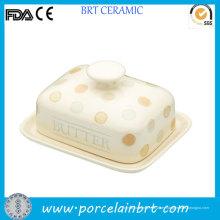 Plato de mantequilla polaco al por mayor de los puntos de cerámica