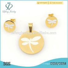 Ensembles de bijoux de libellule de vente chaude, pendentifs en acier inoxydable 316l et jeux de médaillons pour femmes