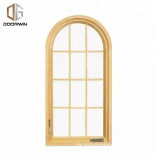 Certificación CSA / AAMA / NAMI de Texas Ventana de diseño arqueado de madera maciza con barras coloniales Diseño de marco de puerta y ventana de madera arqueada