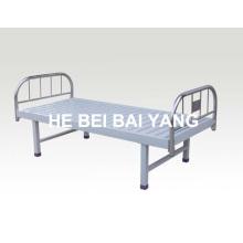 A-125 cama plana hospital con cama de acero inoxidable cabeza