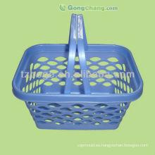 molde plástico de la cesta de compras del mango